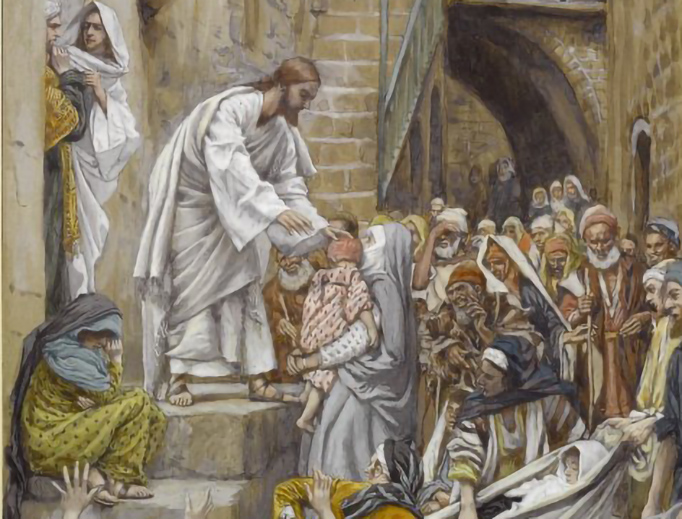 """James Tissot (1836-1902), """"All the City was Gathered at His Door"""""""