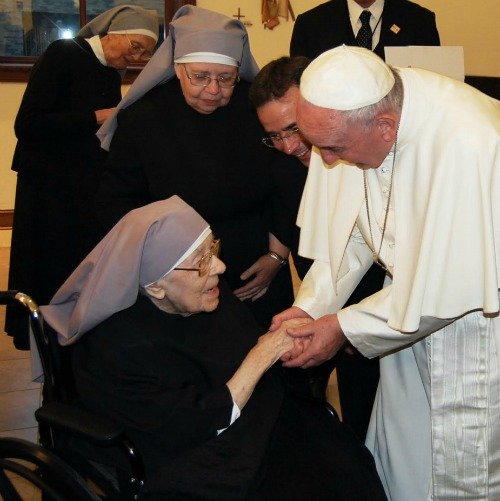 Pope Francis visits the Little Sisters of the Poor in Washington on Sept. 23, 2015.