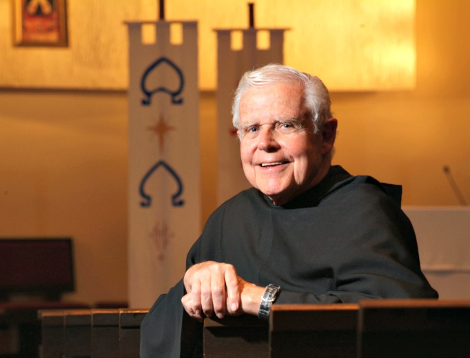 Franciscan Father Michael Scanlan, who died Saturday morning at the age of 85, is shown in Franciscan University of Steubenville's Christ the King Chapel. Below, he addresses attendees as a Franciscan summer conference; meets with Pope John Paul II at the Vatican in 1986; and he presents the university's Poverello Medal to Mother Teresa of Calcutta, with Steubenville Bishop John King Mussio, in 1976.