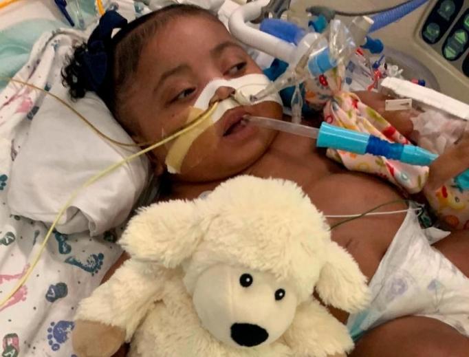Tinslee Lewis in her hospital bed at Cook Chldren's Medical Center, 2019.