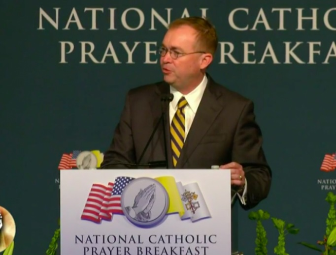Acting White House Chief of Staff Mick Mulvaney at the National Catholic Prayer Breakfast, April 23, 2019.