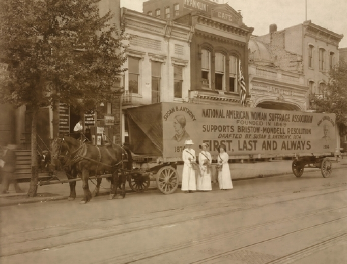 In 1914 a horse drawn float declares National American Woman Suffrage Association's support for Bristow-Mondell Resolution drafted by Susan B. Anthony, 1874.