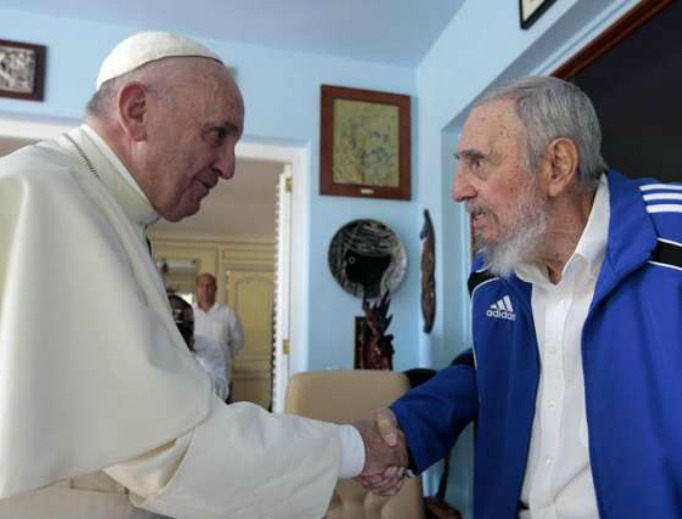 Pope Francis and Fidel Castro during their private meeting on Sept. 20, 2015, in Havana, Cuba.