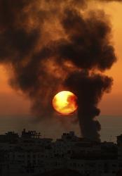 Smoke rises over Gaza City Jan. 6