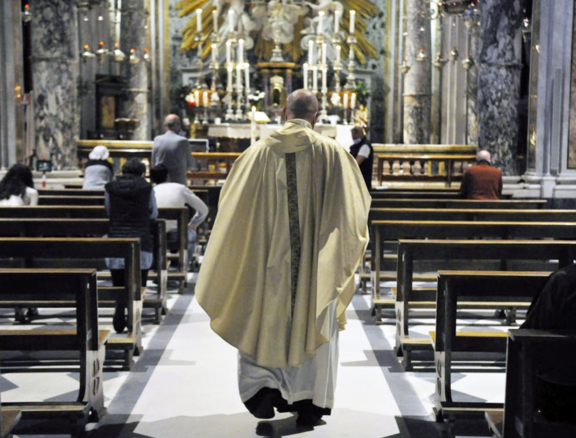 Mass is offered May 3 at Santuario di Montenero in Livorno, Italy. Public Masses will officially start up again May 18, but some priests in Italy have already resumed Masses with people in attendance.