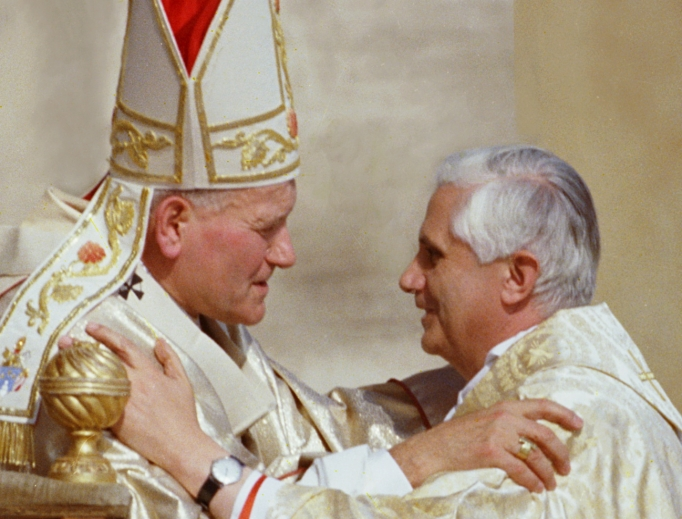 Pope John Paul II with Cardinal Joseph Ratzinger during his papal inauguration Oct. 22, 1978, in Vatican City.The pope emeritus wrote a letter to the Polish bishops for the centennial of the birth of Pope St. John Paul II, May 18, 2020.