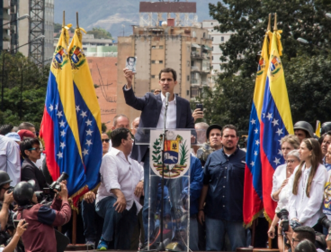 President of Venezuelan National Assembly Juan Guaido talks to the people during a rally, January 23rd 2019.