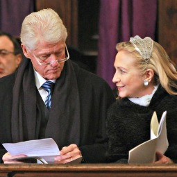 Former President Bill Clinton and his wife, current U.S. Secretary of State Hillary Clinton.