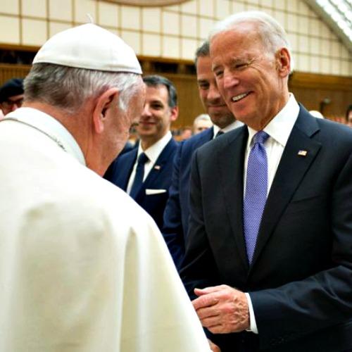 Pope Francis and U.S. vice president Joe Biden at the International Conference on Regenerative Medicine in Vatican City, April 29.