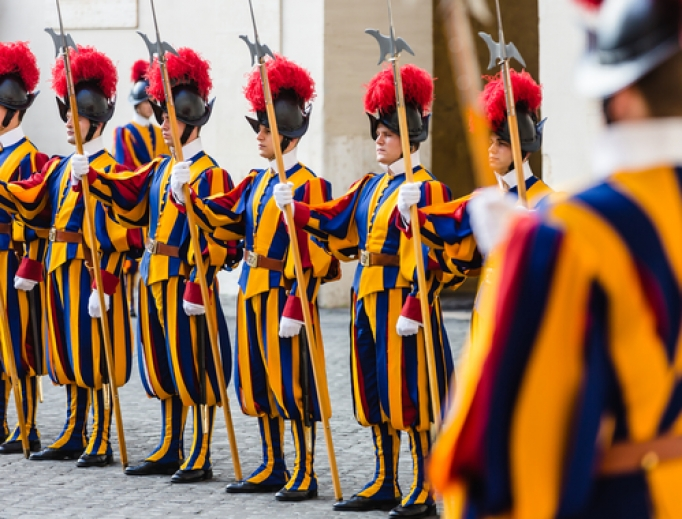 Swiss guards stand at attention on November 5, 2015.