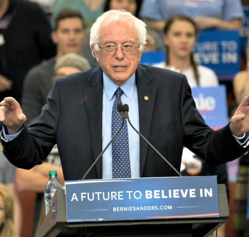 Democratic Party presidential candidate Bernie Sanders speaks during a campaign rally on Feb. 28 in Oklahoma City.