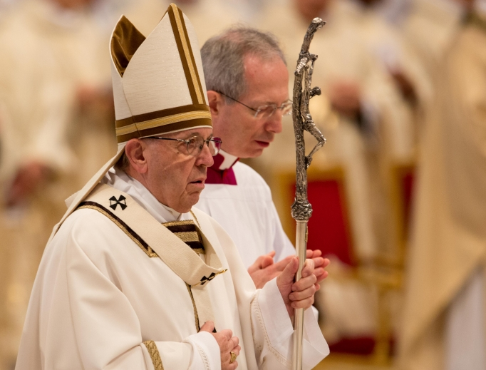 Pope Francis says Chrism Mass in St. Peter's Basilica March 29.