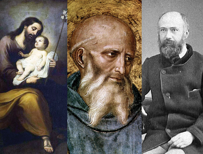 Sts. Joseph, Benedict and Louis Martin (left to right) all offer wisdom to fathers.