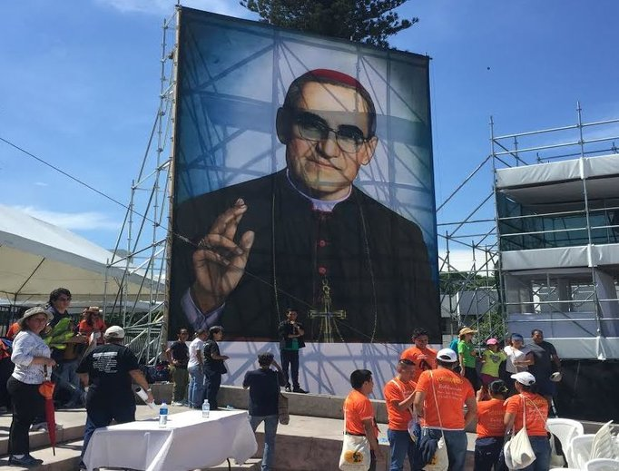 The official image of Blessed Oscar Romero before his beatification in San Salvador on May 23, 2015.