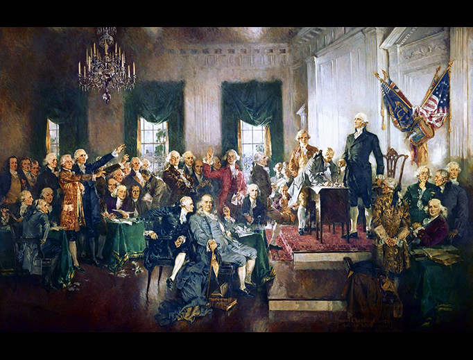 """Howard Chandler Christy, """"Scene at the Signing of the Constitution of the United States,"""" 1940"""