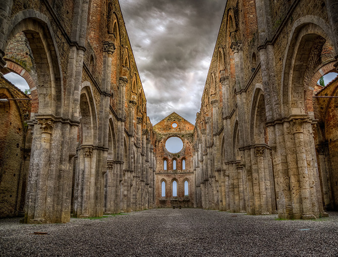 The ruins of the Abbey of San Galgano in the province of Siena, Italy