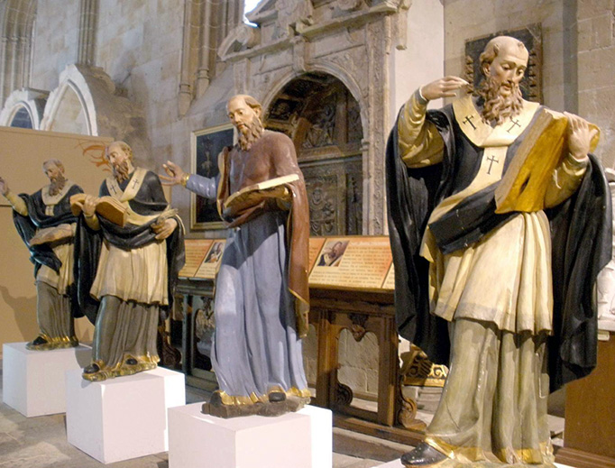 Church Fathers statues in the Old Cathedral of Salamanca