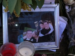 Alex Sullivan, who died in the Aurora shooting, is depicted in a memorial with his bride of one year.