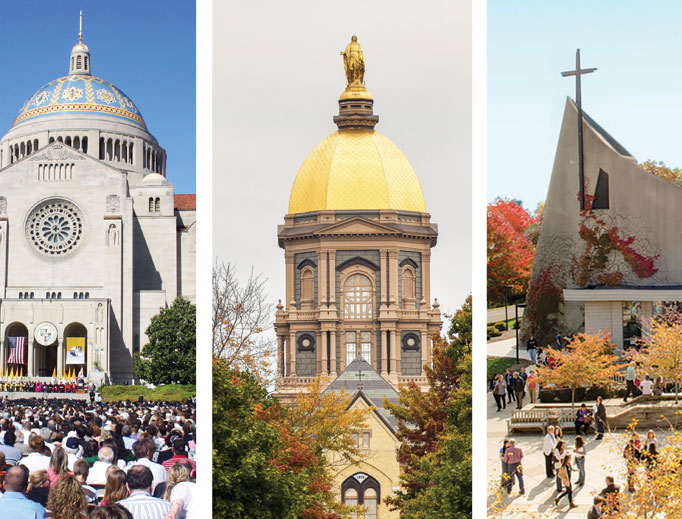 From left to right: The Catholic University of America, the University of Notre Dame and Franciscan University of Steubenville are offering graduates at commencement speakers who are faithful witnesses.