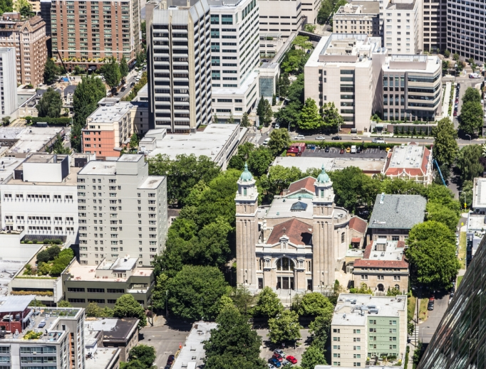 Reopening plans are underway in the Archdiocese of Seattle, whose St. James Cathedral is shown. Published by the Washington State Catholic Conference, the proposal balances liturgical reverence and health guidelines, according to Auxiliary Bishop Daniel Mueggenborg.