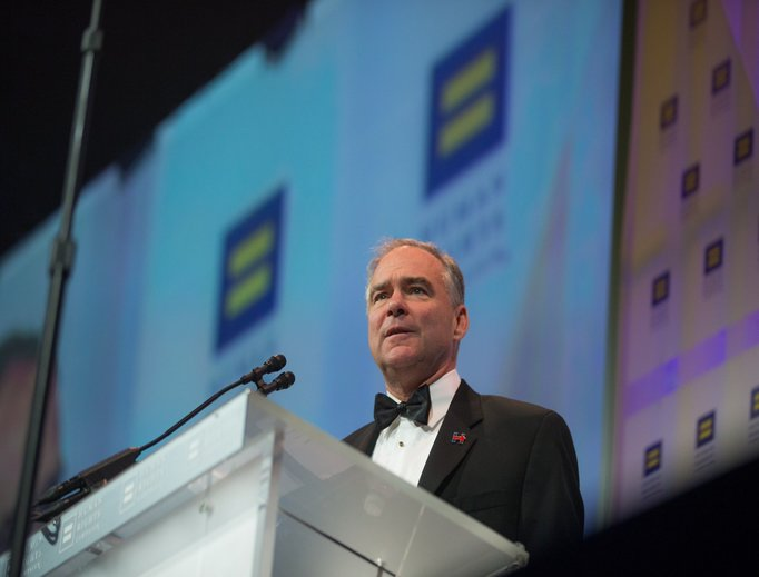 Democratic candidate for vice president Tim Kaine of Virginia speaks at the Human Rights Campaign's national dinner.