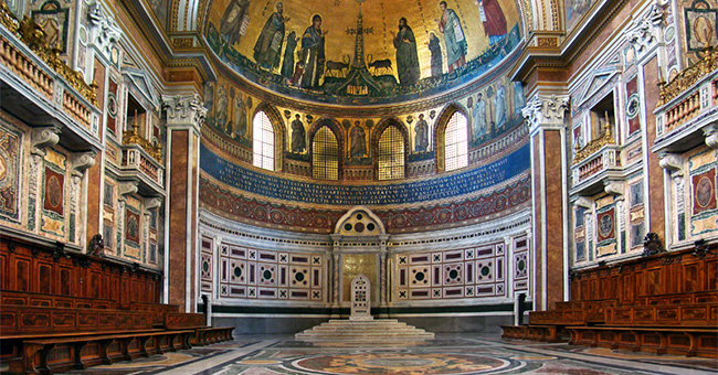 The papal cathedra in the Basilica of St. John Lateran