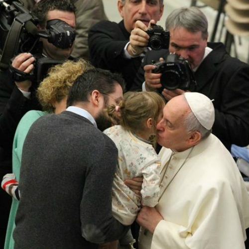 Pope Francis greets pilgrims present in the Vatican's Paul VI Hall for his Jan. 28, 2015 general audience.