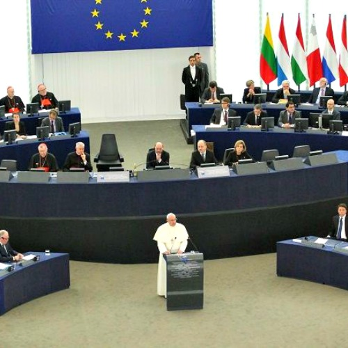Pope Francis addresses the European Parliament in Strasbourg on Nov. 25.
