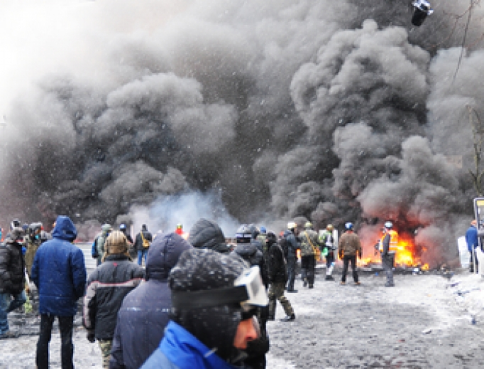 Protests and barricades in the streets of Kiev, Ukraine, November 15, 2017.