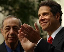 Mario Cuomo (l) stands with his son Andrew Cuomo in May 2010 in New York City, as the younger Cuomo announces his candidacy for the governorship of New York.