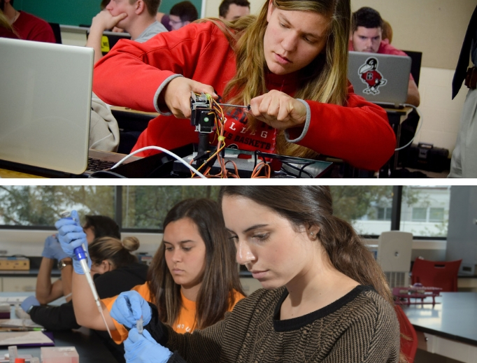 Top, Rachelle Regli, a Benedictine College senior mechanical engineering major from Ferndale, California, fine-tunes a robot in her robotics class, as, shown in lower photo, students at the University of St. Thomas work in a campus laboratory.