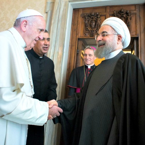 Pope Francis meets with Iranian President Hassan Rouhani in Vatican City on Jan. 26.