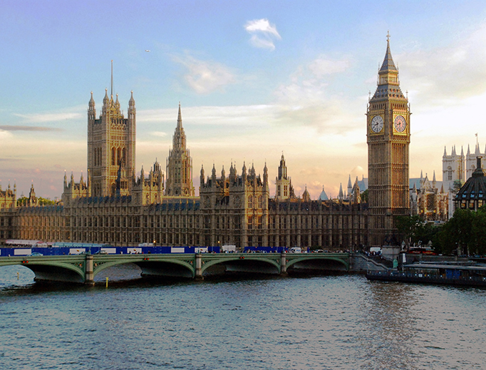 The Palace of Westminster in London, the seat of the U.K. Parliament.