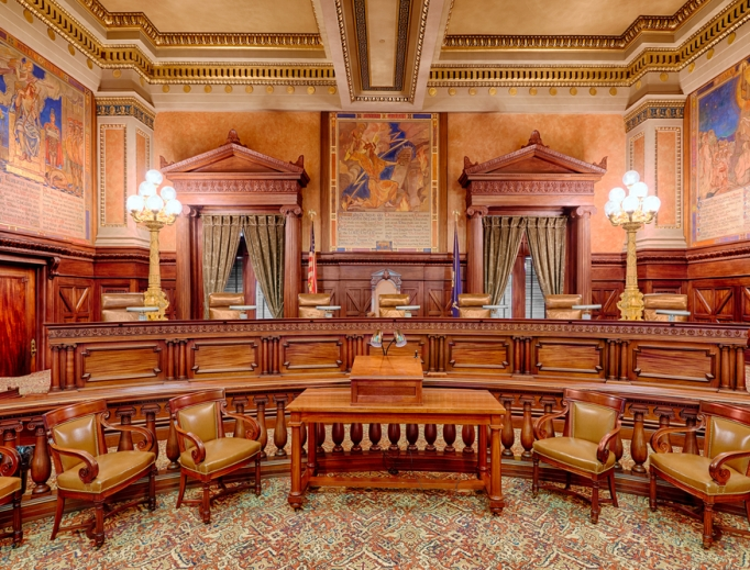 The Supreme Court Chamber in the Pennsylvania State Capitol building in Harrisburg, Pennsylvania.