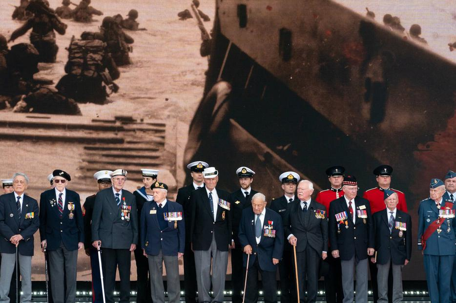 World War II veterans attend the D-Day National Commemorative Event June 5, 2019, at the Southsea Common in Portsmouth, England.