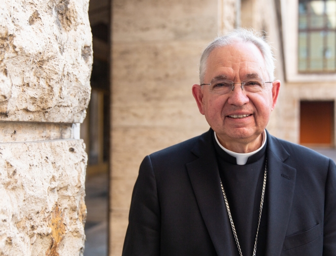 Archbishop José Gomez of Los Angeles, who was elected this week as president of the USCCB, is shown visiting the North American College in Rome Sept. 16.