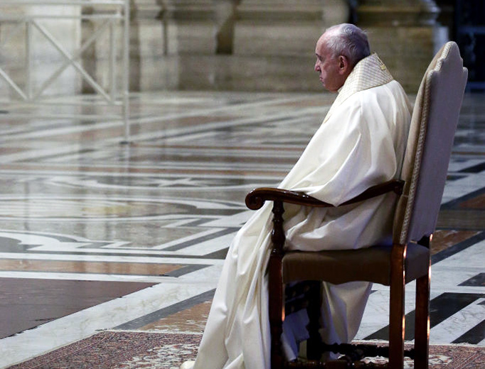 Pope Francis pauses in prayer before the Blessed Sacrament during the March 27 extraordinary 'Urbi Et Orbi' blessing at the Vatican.