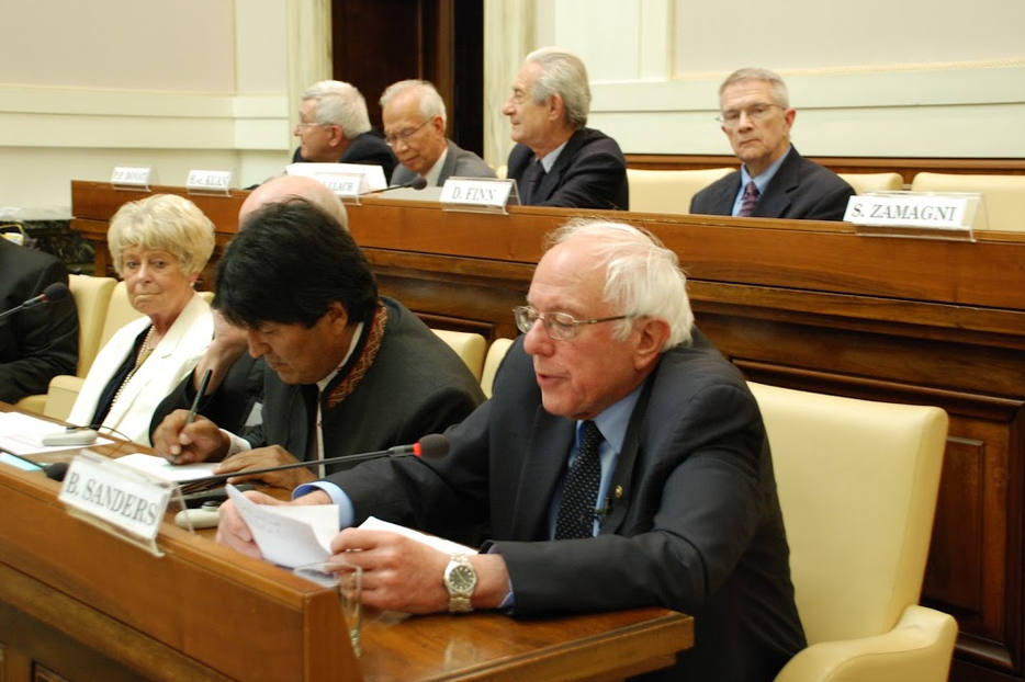 Senator Bernie Sanders addressing the Pontifical Academy of Social Sciences on Friday.