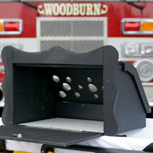 A prototype of a baby box, where parents could surrender their newborns anonymously, is shown outside the fire station in Woodburn, Ind., on Feb. 26.