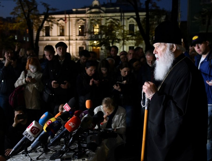 Patriarch Filaret (r) of the Ukrainian Orthodox Church of Kiev's patriarchy speaks during a press conference in Kiev Oct. 11. The Istanbul-based Ecumenical Patriarchate on Oct. 11 said it had agreed to recognize the independence of the Ukrainian Orthodox Church, a move strongly desired by Kiev but which risks stoking new tensions with Moscow. A synod meeting chaired by Patriarch Bartholomew, seen as the first among equals of Orthodox Church leaders, 'decreed to proceed to the granting of autocephaly to the Church of Ukraine,' said an official statement read in Istanbul, formerly Constantinople.