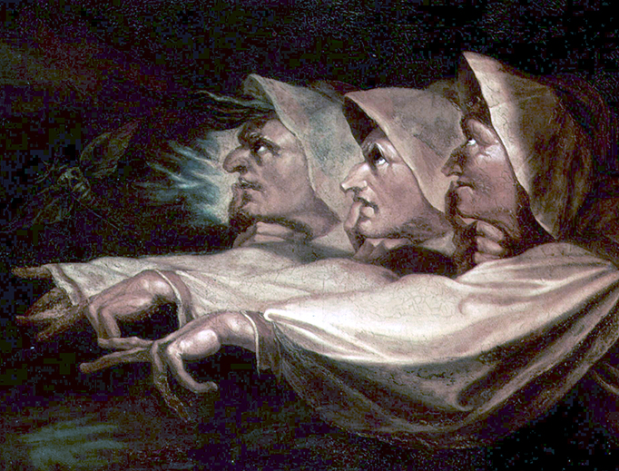 """Henry Fuseli, """"The Weird Sisters or The Three Witches"""", 1783"""