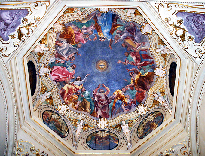 "Carlo Urbino (1525/30-1585), ""The Descent of the Holy Spirit on the Twelve Apostles."" Fresco on the dome of Saint Joseph Chapel in San Marco Church, Milan."