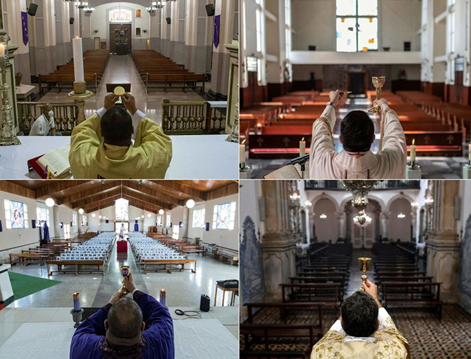 This combination of pictures created on April 12, 2020, shows Holy Week Masses being celebrated behind closed doors amid the outbreak of the new coronavirus in (L-R and top to bottom) Caracas, Tlalnepantla in Mexico, San Jose and Ouro Preto in Brazil.