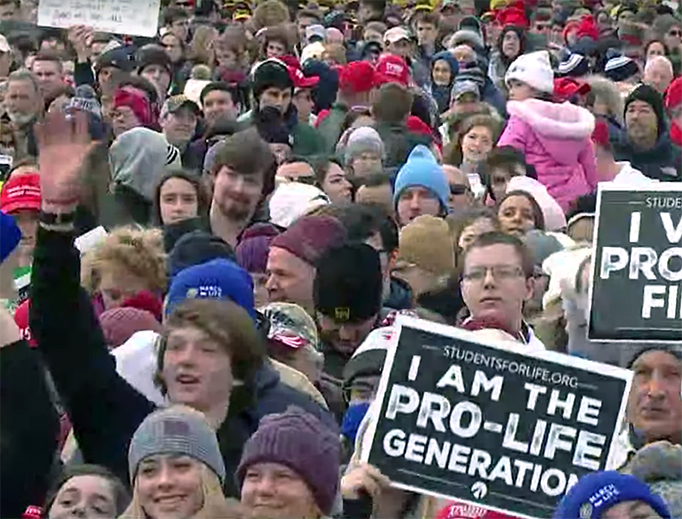 A crowd gathers Friday on the National Mall in Washington, DC, for the 2020 March for Life.