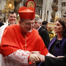 WELL-WISHERS. Newly installed U.S. Cardinal Raymond Burke greets well-wishers after a consistory with Pope Benedict XVI in St. Peter's Basilica at the Vatican Nov. 20. Cardinal Burke, prefect of the Vatican's highest tribunal, was among the 24 new cardinals created by the Pope.