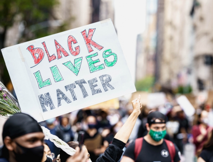 Black Lives Matter sign during Manhattan protest.