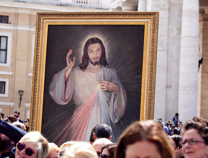 The Divine Mercy image is on display at the Regina Caeli with Pope Francis in St. Peter's Square April 23, 2017.