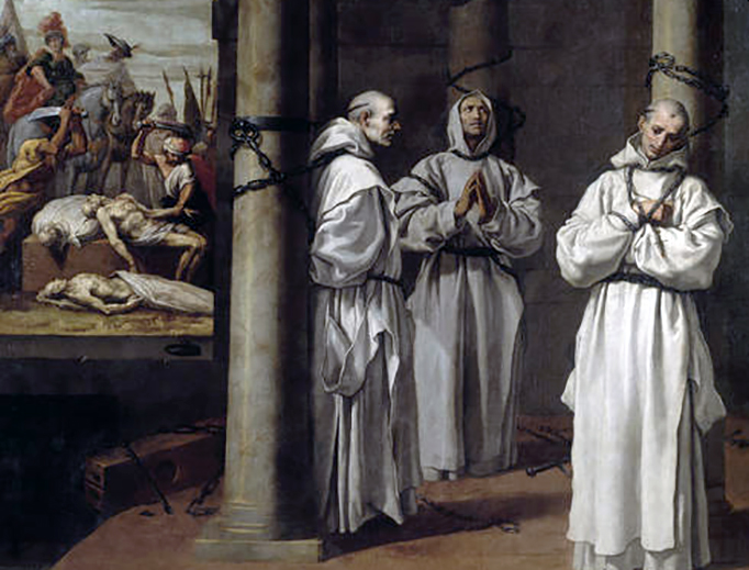 """Vincenzo Carducci, """"Martyrdom of the Priors of the English Carthusians of London, Nottingham and Axholme,"""" c. 1639"""