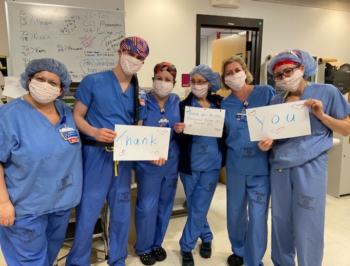 Hospital staff express their thanks for the hand-sewn masks provided by the Dominican sisters at the Dominican Monastery of Our Lady of the Rosary in Summit, New Jersey.