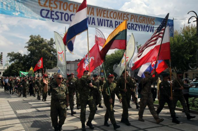 A multinational military group participates in a pilgrimage for peace to the Shrine of Our Lady of Czestochowa on Aug. 14.